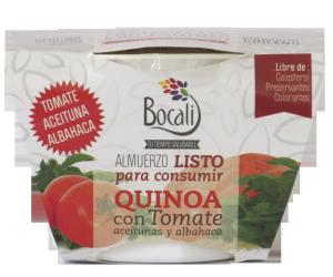 Platos en base a quinoa con diferentes verduras listos para consumir. No necesita preparación ya que viene cocido y no necesita refrigeración. Sabor Quinoa con Tomate. Precio $2.500