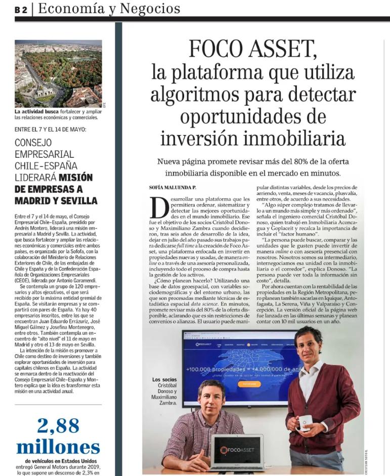 Publicación de FocoAsset en El Mercurio destacando su innovación